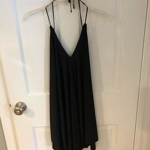 Bebe black deep v tie neck dress